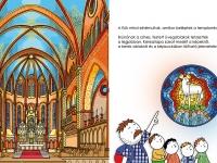 Első kötet - Mátyás templom: A Mátyás-templomot kívülről és belülről is lerajzoltam. A főoltárt épp restaurálták, így a rajz kissé elhúzódott, és mire a kötet elkészült, az Isten báránya ablakot is kicserélték. Míg korábban a bárány feküdt, ma újra áll, így a második kiadásban átrajzoltam ezt a részletet.