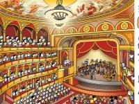 Harmadik kötet - Az Operaház nézőtere az egyik legmunkásabb rajz volt mind közül, de nagyon szerettem. Belecsempésztem a képbe egy kis fejtörőt is, meg kall találni a rajzon az oldalt látható szereplőket.