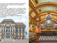 Harmadik kötet - A Zeneakadémia épületét lerajzolni kívülről és belülről is nagy feladat volt. A nagyterem halvány színeit, szecessziós díszítéseit, aranyleveles mennyezetét gyerekkorom óta szeretem. Örülök, hogy most lerajzolhattam.