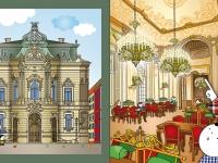 Harmadik kötet - Szabó Ervin könyvtár: Az egykori Wenckheim Palota bálterme ma a könyvtár olvasóterme. A sűrűn díszített terem grafikája sok időt követelt. Az épület homlokzati rajza a kedvenceim közé tartozik, érdekes alaprajzú, bravúros épület, nagyszerű bővítéssel.